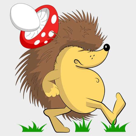 Gloomy hedgehog. Hedgehog with a mushroom on his back. Cartoon character. Walking on the grass. Imagens - 122667831