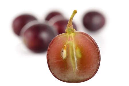 halved black grape