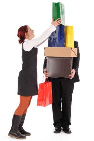 shopping binge: woman on shopping trip Stock Photo