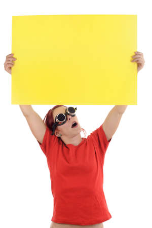 aide: person holding a notification Stock Photo
