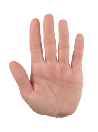 hand stop: Hand palm gesture Stock Photo