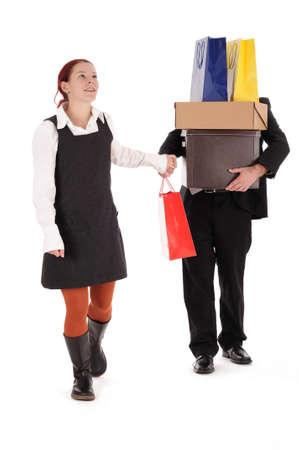 shopping binge: Woman shopping fever on shopping trip