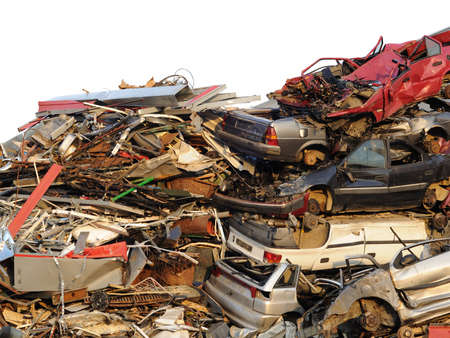 Metal scrapyard car wrecks photo