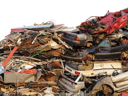 salvage yard: Metal scrapyard car wrecks Stock Photo