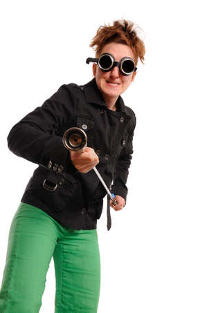 blowtorch: Woman with blowtorch and goggles