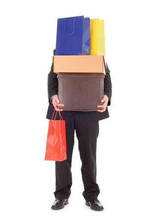 over burdened: Man carrying shopping bags Stock Photo