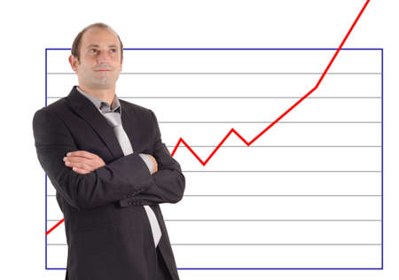 valuta: Successful businessman and increasing chart Stock Photo