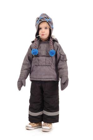 Kid girl in winter clothing