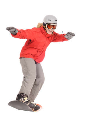 Woman  on snowboard photo