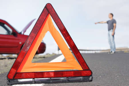 towing: Breakdown accident car warning triangle Stock Photo