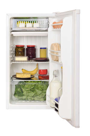 icebox: Opened refrigerator with food content