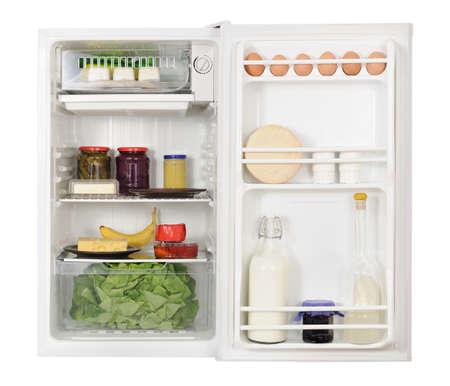 icebox: Opened refrigerator fridge and food