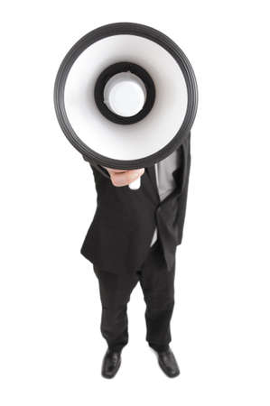 Man making an anouncement with megaphone photo