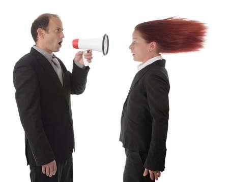 dictating: Empresaria conseguir un anuncio de disco Foto de archivo