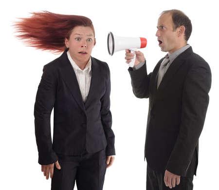 willekeurig: Zakenvrouw het krijgen van een harde boodschap
