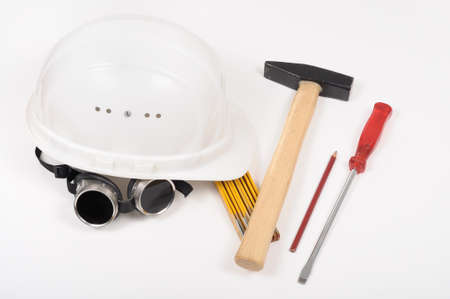 safety googles: Construction tools Stock Photo