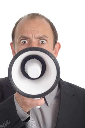 speaking tube: Shouting businessman