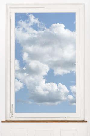 window blue sky outlook