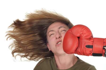Woman getting a punch photo