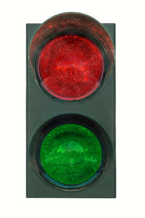 stoplights: Red and green traffic lights