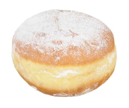 Jelly donut with powdered sugar photo