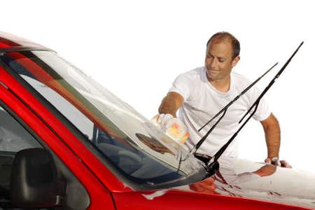 Man washing cleaning his car wash photo