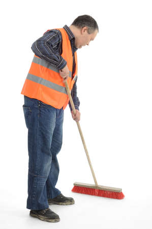 Cleaning sweeping worker photo