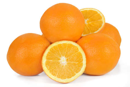 Halved orange oranges bunch