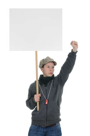 Demonstrator with protest sign