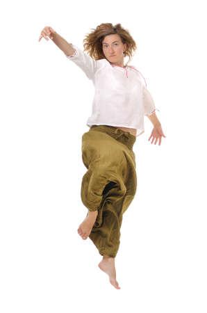 Woman performing free dance jump