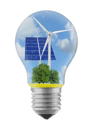 ecosistema: fuentes de energía limpias de energía en los ecosistemas bombilla Foto de archivo
