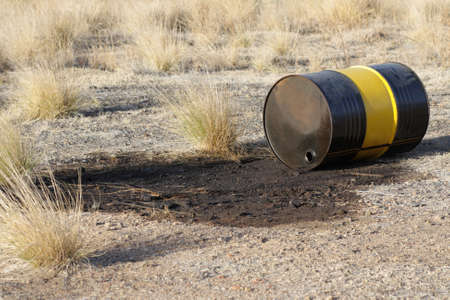 Leaking barrel nature pollution