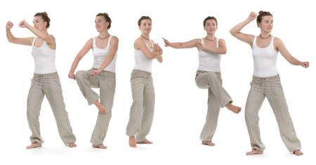 Mujer, entrenamiento, quigong, ejercicios, figuras Foto de archivo - 81370573