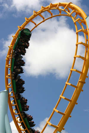 Roller coaster ride does the loop photo
