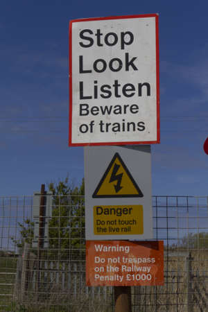 Stop Look Listen rail safety sign photo