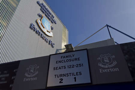 A closeup shot of Goodison Park, the home of Everton Football Club, Liverpool Redactioneel