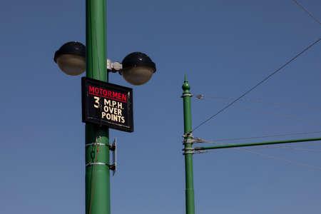 Speed limit sign for tram driver motormen, Woodside, Birkenhead, Wirral