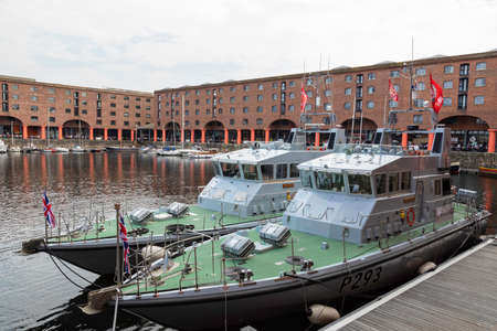 HMS Ranger (foreground) and HMS Smiter (background) Archer class patrol vessels in the Royal Navy visiting the Albert Dock Liverpool for the Tall Ships Festival Liverpool May 2018
