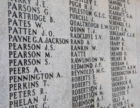 Names listed on the Lever Brothers war memorial for the two world wars at Port Sunlight Wirral