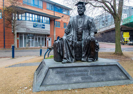 Statue of the first chancellor of Liverpool John Moores University Henry Cotton outside the Henry Cotton Building Liverpool January 2019 Editorial