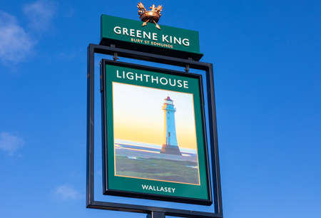 Exterior sign for The Lighthouse public house Wallasey Village part of the Greene King pub and restaurant chain Wallasey Village February 2019 Editorial