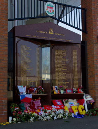 The Hillsborough Memorial at Anfield the home of Liverpool Football Club Merseyside England March 2012 Editorial