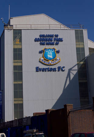 Exterior of Goodison Park home of Everton Football Club Liverpool England March 2012