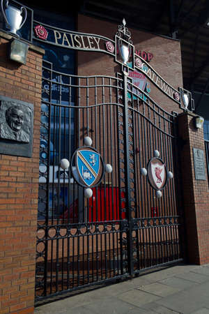The Paisley Gateway gates part of Anfield home of Liverpool Football Club Liverpool England March 2012