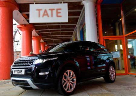 The Range Rover Evoque pictured at its launch outside the Tate Gallery Albert Dock Liverpool England September 2011
