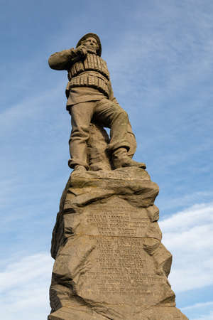 Lifeboat memorial statue commemorating 27  deaths of lifeboat personnel in 1886 St Annes on Sea Fylde Coast February 2019