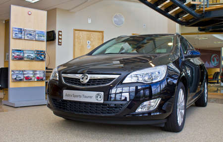 A black Vauxhall Astra Sports Tourer in the reception of the Vauxhall car factory at Ellesmere Port Cheshire July 2011