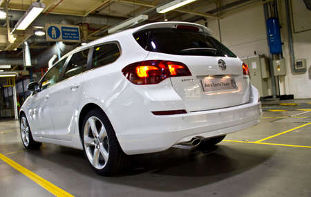 A Vauxhall Astra Sports Tourer coming off the production line at the Vauxhall car factory Ellesmere port Cheshire July 2011
