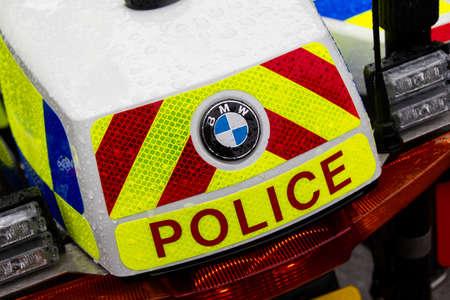 Rear of a BMW police bike Liverpool Merseyside February 2013 Editorial