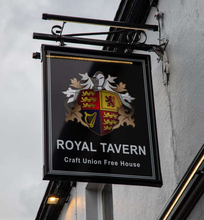 Exterior sign for the Royal Tavern public house St Helens Lancashire March 2019 Editorial